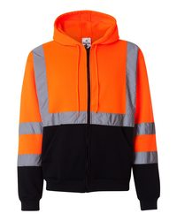 Hi-Vis Full-Zip Hooded Sweatshirt