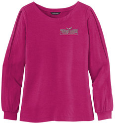 Wild Berry Port Authority Ladies Luxe Knit Jewel Neck Top shown with an embroidered left chest logo.