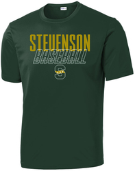 Forest green ST350 shirt shown with a Stevenson Baseball Design.