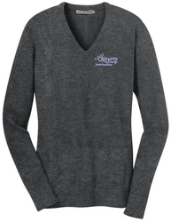 Charcoal Heather Port Authority Ladies V-Neck Sweater shown with an embroidered left chest logo.