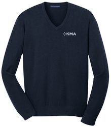 Navy Port Authority V-Neck Sweater shown with an embroidered left chest logo.