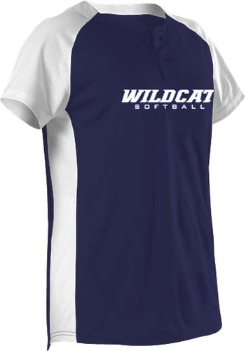 Womens Two Button Fastpitch Jersey with Design