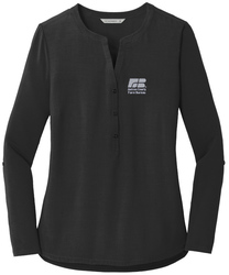 Black Port Authority Ladies Concept Henley Tunic shown with an embroidered left chest logo.