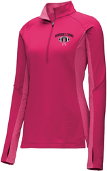 Ladies Stretch Contrast 1/2-Zip Pullover with Design