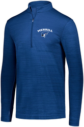 striated 1/4 zip pullover with design