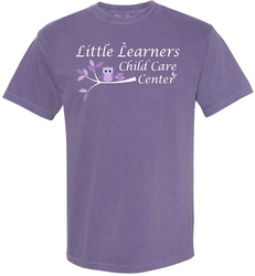 Grape Comfort Colors Garment Dyed Cotton T-Shirt Shown with a business logo in screen print.