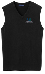 Black Port Authority Sweater Vest shown with a left chest embroidered logo.
