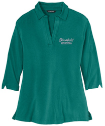 Teal Green Port Authority Ladies Luxe Knit Tunic shown with an embroidered left chest logo.