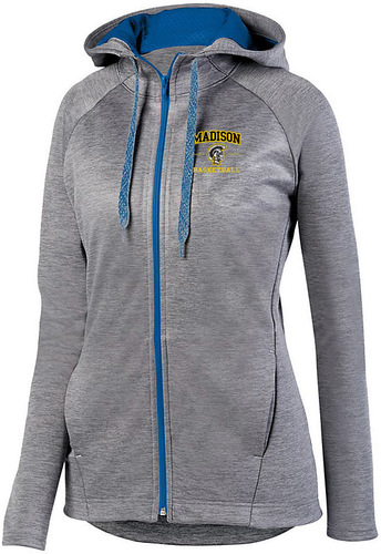 Ladies Zoe Tonal Heather Full Zip Hooded Sweatshirt with Design