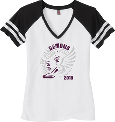 Women's Game V-Neck T-shirt with Design