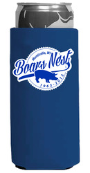 Image of a slim can coozie that is blue with a one color screen print logo.