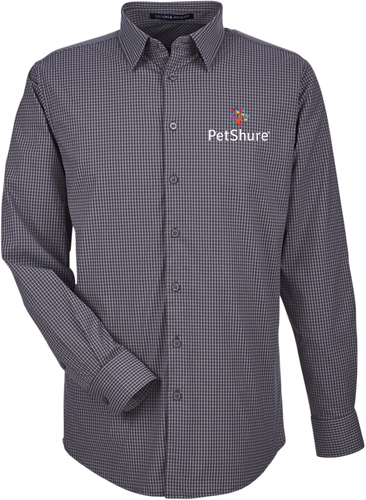 Tonal Mini Check Button Up Shirt with Design