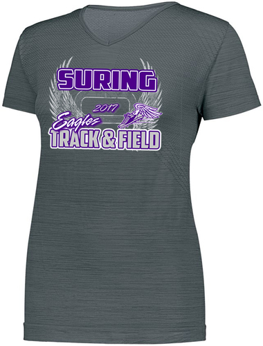 ladies striated short sleeve performance tee with design