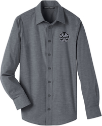 Stretch Pinpoint Chambray Button Up Shirt with Design