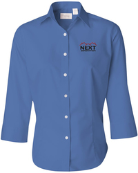 Baby Twill Three-Quarter Sleeve Button Up Shirt with Design