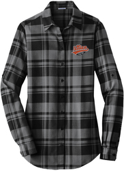 Ladies Plaid Flannel Tunic with Design