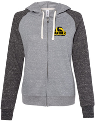 Women's Snow Heather Full-Zip Hooded Sweatshirt with Design