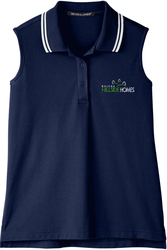Ladies Plaited Tipped Sleeveless Sport Shirt with Design