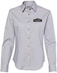 Women's Solid Point Collar Button Up Shirt with Design