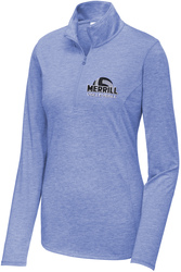 Ladies Tri-Blend Wicking 1/4-Zip Pullover with Design