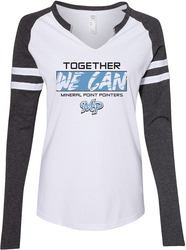LAT Ladies Gameday Mash-Up Long Sleeve Jersey T-Shirt with Design