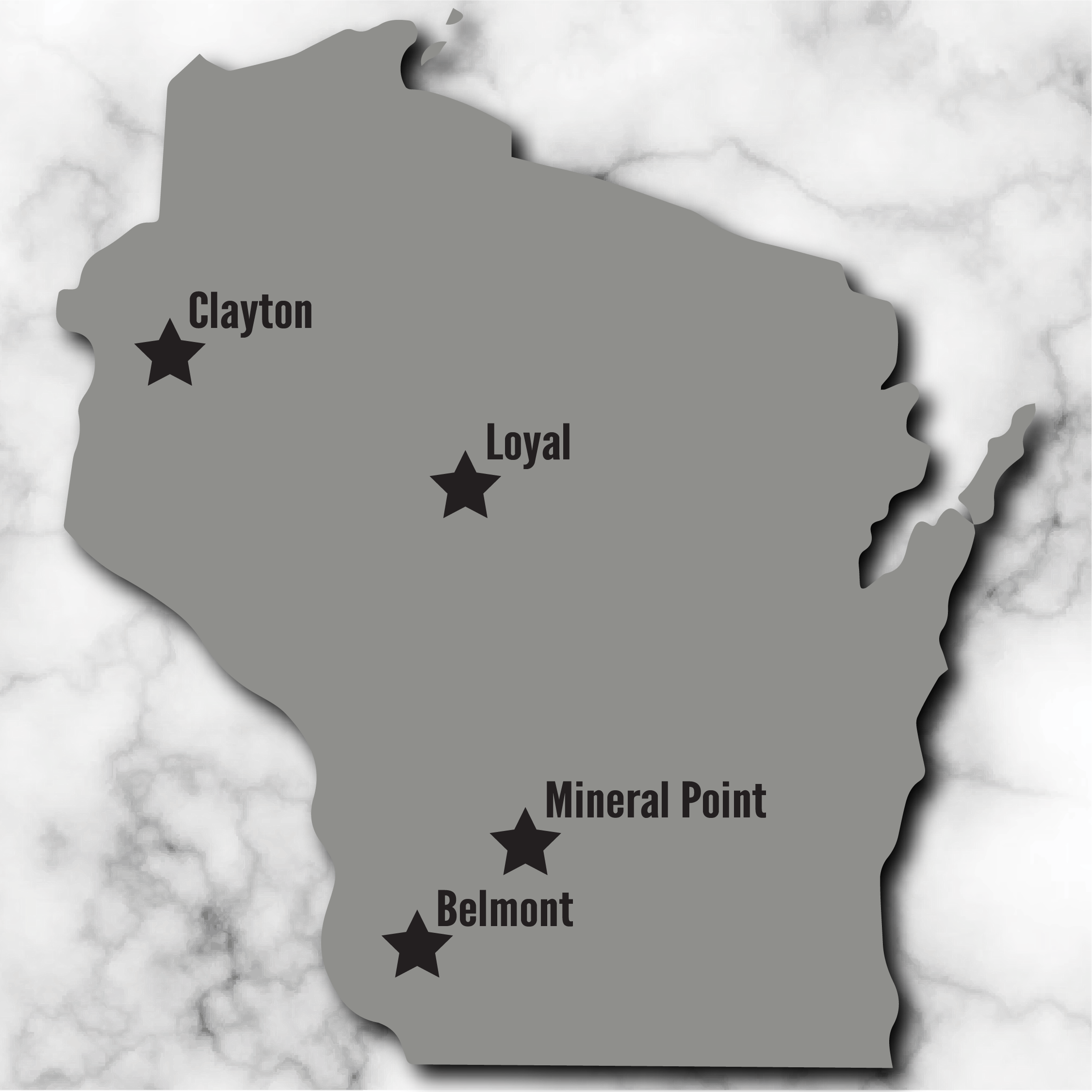 Image of the state of Wisconsin showing the four winner's town.